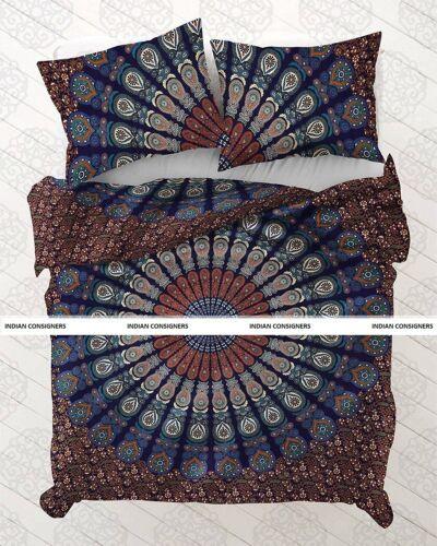 Peacock Mandala Cotton Beautiful Design Indian Bedding Queen Duvet Cover HIppie