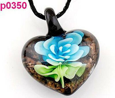 handmade Flower leaf art glass beaded pendant necklace p0350