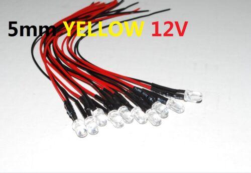 10pcs Prewired 5mm YELLOW  Waterclear  SuperBright Light Bulb Car 12v  USA A257