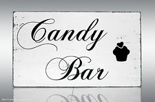 SA2 WEDDING Candy Bar EAT ME SHABBY CHIC VINTAGE SWEET tabella cartello FREE STANDING