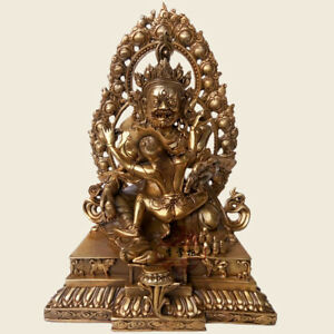 "4/"" Antique Tibetan Buddhism Red copper hand made Vajrapani statue"