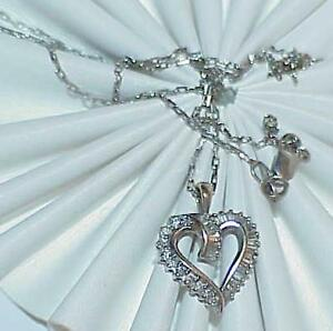 14K-50ct-Diamond-Heart-Baguettes-Pendant-Necklace-White-Gold-Vintage-18-034-chain