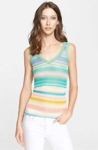 NWT-Missoni-Orange-Label-Stripe-V-Neck-Shell-40-IT-4-US-Multi-760