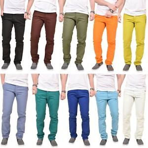 Mens-Kushiro-City-Jeans-Slim-Fit-Twill-Chino-Straight-Leg-Trousers-Cotton-Pants