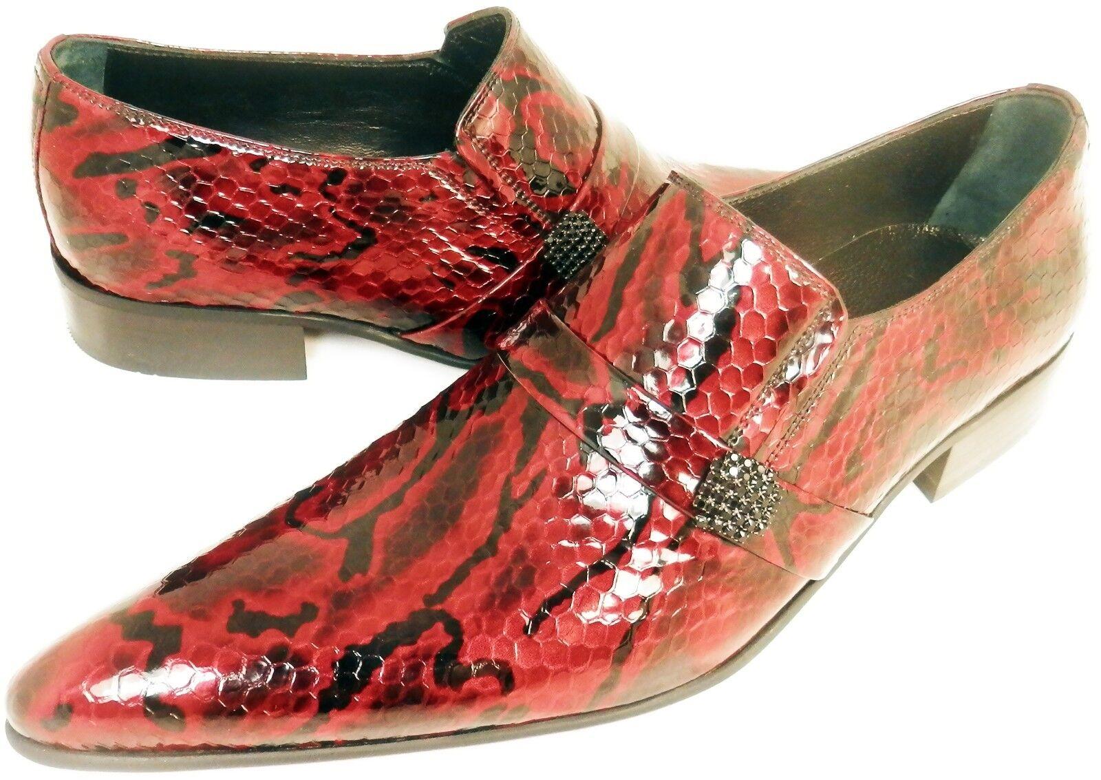 Chelsy - Italienischer Designer Slipper Python handmade Seitenbrosche Leder rot rot rot a8a1a1