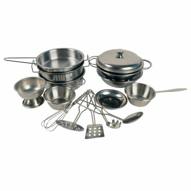 Stainless Steel Pots And Pans Cookware Pretend Kitchen Play Set For Kids 16pcs For Sale Online Ebay
