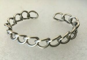 Vtg-solid-sterling-silver-925-Chain-Link-fixed-Cuff-bangle-7-5-in-bracelet-20g