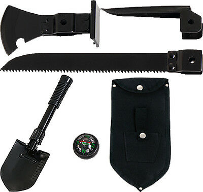 Black 5-In-1 Multi Purpose Military Tool Set with Shovel, Saw & Pick