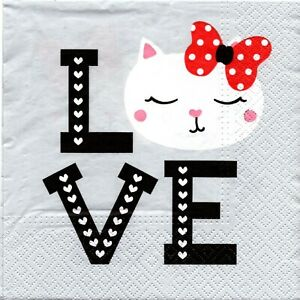 Responsable Paquet 20 Serviettes En Papier Chat Et Coeurs. Pack 20 Paper Napkins Cat Hearts