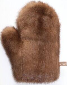 Mink Glove Fur Massage Streichel Wellness Erotic Fur Classic Camel Braun