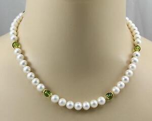Weisse-Suesswasser-Perlenkette-mit-Peridot-Halskette-fuer-Damen-45-cm-lang
