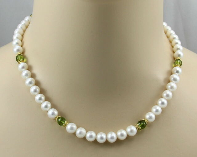 Weiße Süßwasser-Perlenkette mit Peridot Halskette für Damen 45 cm lang