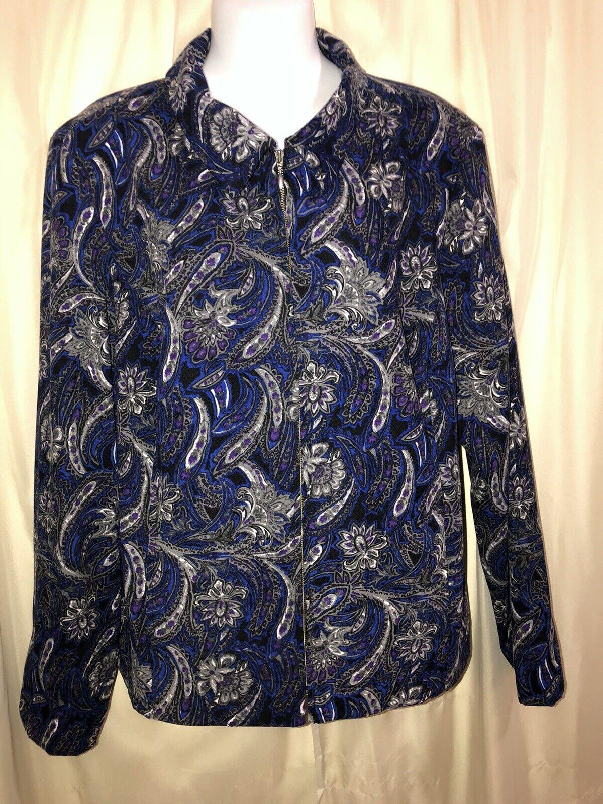 CHRISTOPHER & BANKS Paisley Unlined Jacket Zip Fr… - image 1