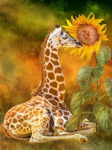 Giraffe Under The Sunflower Full Drill DIY 5D Diamond Painting Embroidery Decor