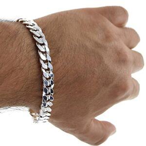 8-034-Solid-Italian-925-Sterling-Silver-9mm-wide-Curb-Link-Chain-Bracelet-Men-039-s