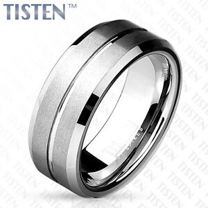 Tisten Tungsten Titanium Matte Grooved Line Center Wedding Band Mens