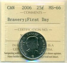 2006 Canada 25-cent Medal of Bravery; First Day ICCS MS-66