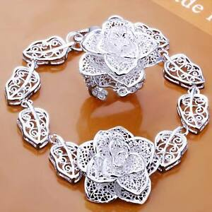 beautiful-Fashion-solid-retro-silver-flower-women-Bracelet-ring-set-jewelry-new