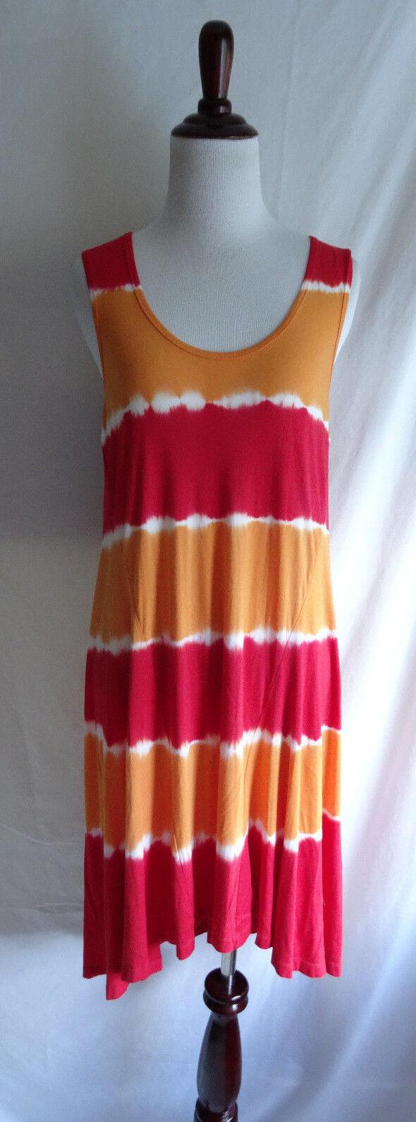 Ellen Tracy 10 Red orange Tie Dye Stripe Jersey Knit Summer Beach Boho Dress