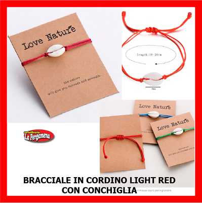 Competente Cavigliera Bracciale Conchiglie Ciprea Con Cordino Colorato Red Essere Accorti In Materia Di Denaro