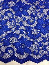 """Nuevo Azul Stretch De Encaje Floral De Tela Doble Cuero Cabelludo frontera 59 """" 150 Cm"""