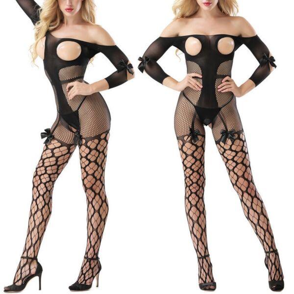 Damen Sexy Dessous Reizwäsche Körper Strümpfe Catsuit Body Stockings Unterwäsche