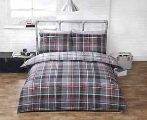 Modern-Check-Reversible-Duvet-Cover-Set-in-Dark-amp-Pale-Greys-King-Polycotton