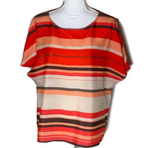 Ann Taylor Loft Womens Top Scoop Neck Blouse Striped Shirt Work Ladies Size XL