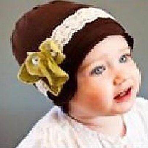 Baby Kinder Mütze mit Blume weisse Spitze Blüte Baumwolle BRAUN Baumwollmütze