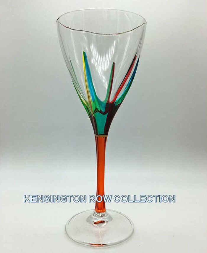 POSITANO  WINE GLASS - orange STEM - HAND PAINTED VENETIAN GLASSWARE
