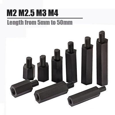 10x M2 M2.5 M3 M4 Male Female Black Nylon Hex Standoff Spacer Pillar Screw Nut