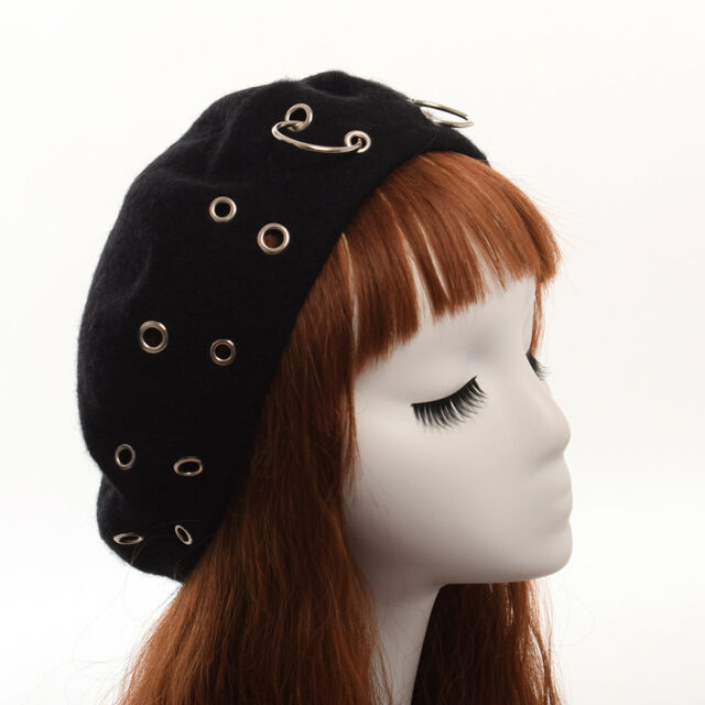 eb061ff967389 Vintage Harajuku Girls Beanie Punk Iron Ring Beret Lolita Girls Painter Hat