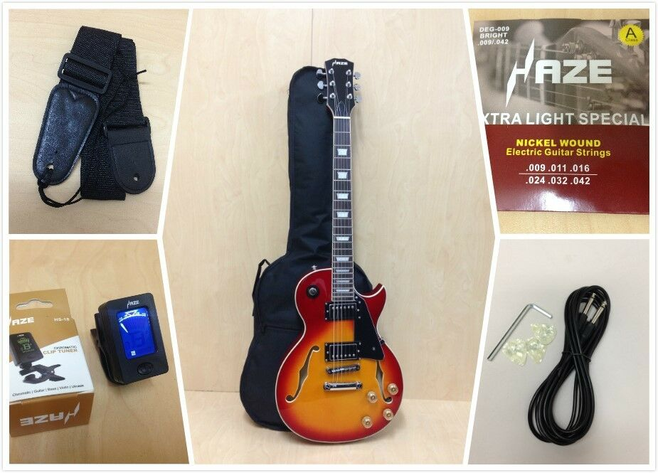 Haze Lp Estilo Guitarra eléctrica de cuerpo semi semi semi hueco, explosión solar Cereza + bolsa Gig Bag GRATIS, Pick  ahorra hasta un 50%
