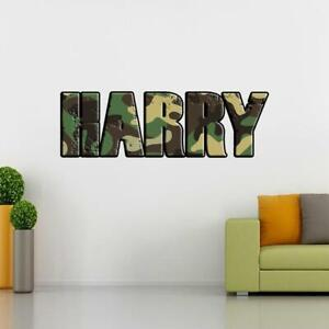 PERSONALISED CUSTOM NAME Wall Decal Sticker Vinyl NAVY SEALS CAMO ARMY PRINT