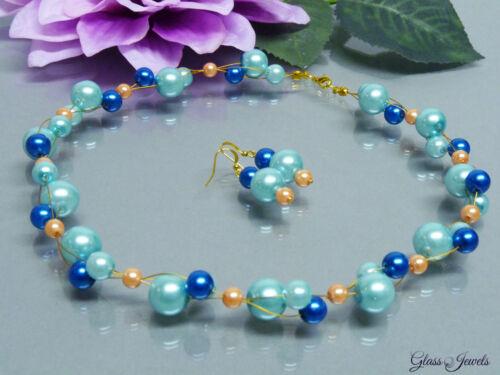 Glass Jewels Perlen Schmuckset Kette Collier Ohrringe Gold Blau #F008