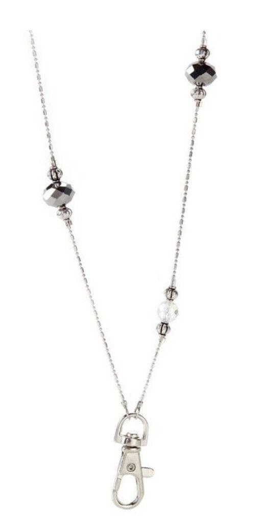 "Beaded Chain Necklace Lanyard Key Clip Iridescent Bead Elegant 38"" Spin Hook"