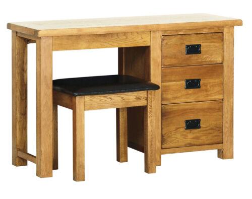 Original Rustic Solid Oak Wooden 3 Drawer Pedestal Dressing Table With Stool Set