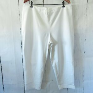 New-Joan-Rivers-Crop-Pants-1X-Petite-Ivory-Off-White-Pull-On-QVC-Plus-Size