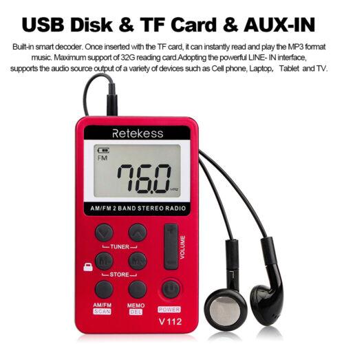 Retekess V-112 AM// FM Stereo Radio Digital Tuning Radio Mini Receiver Radio Red