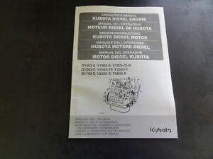 Details about Kubota D1403-E V1903-E V2203-DI-B D1503-E Diesel Engine  Operator's Manual