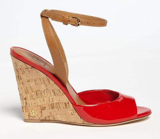 NEW TORY BURCH Ashton Red Patent/Royal Tan Cork-Wrapped Logo Wedge Sandal Size 9
