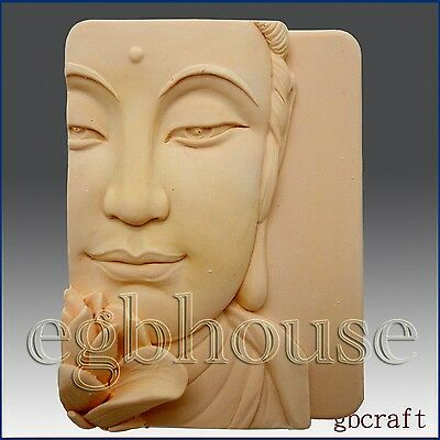 2D Silicone Soap/Plaster/Polymer clay Mold - Buddha Closeup w/Lotus