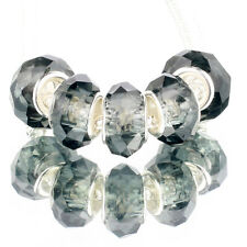 Crystal Dark grey 5pcs MURANO glass bead LAMPWORK fit European Charm Bracelet