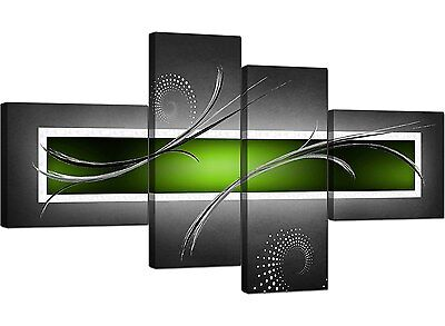 Large Lime Green Grey Abstract Canvas Wall Pictures XL Art Print 4093
