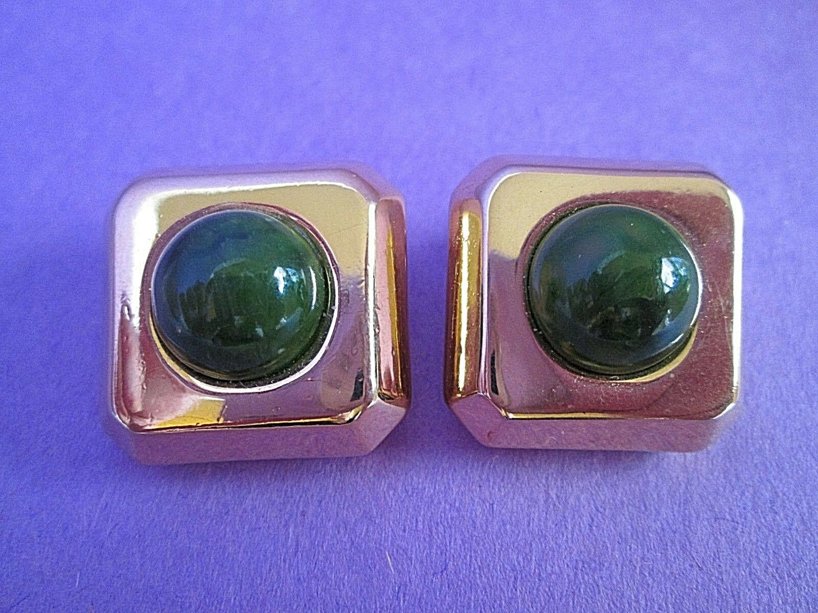 Lanvin Paris gold Tone Clip Earrings Signed Vintage Jade Green Faux Stone RARE
