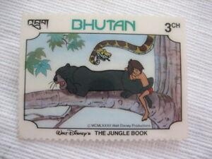 Collectible-BHUTAN-1982-Stamp-Pin-Walt-Disney-The-Jungle-Book-3CH-P82