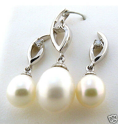 AAA 6-8MM FW White Pearl & Diamond Earrings & Pendant Set, 14K White Gold, NEW