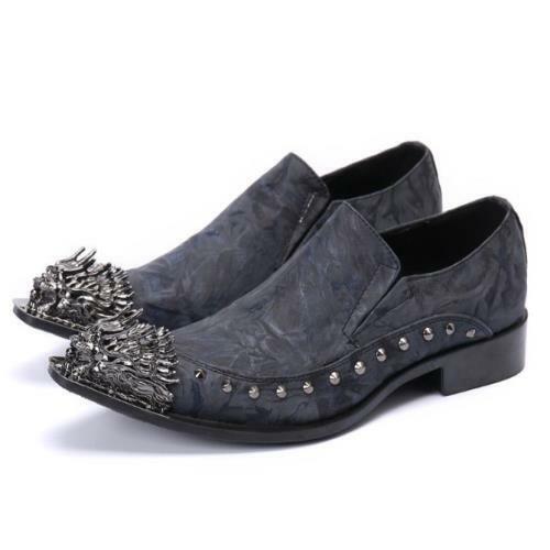 Men's Fashion Metal Decor Pointy Toe Rivet Leather Shoes Party Dress Shoes DIC
