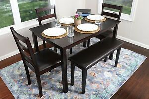 Details About 5pc Espresso Dining Table Set Dinette Chairs Bench Kitchen Nook Breakfast Bar