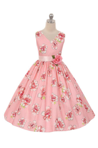 New Flower Girls Pink Taffeta Floral Print Dress Easter Wedding Party Fancy 6433